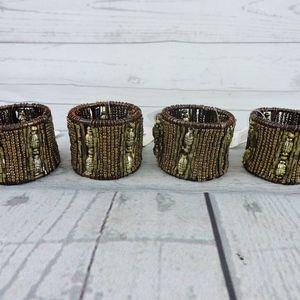 Trendex Home Beaded Napkin Rings Set of 4 Brown